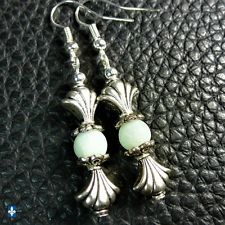 ♥ EASY SHIP TO USA  Adorable Frosted Natural Amazonite & Plated Silver Earrings