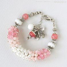 Купить Браслет из агата и розового кварца «Клубничный зефир» - бледно-розовый, нежно-розовый