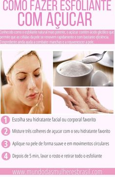 como fazer esfoliante caseiro Mascara is mostly a cosmetic commonly utilized to help the eyelashes. Homemade Scrub, Homemade Skin Care, Organic Skin Care, Natural Skin Care, Electrolysis Hair Removal, Proactive Skin Care, Whitening Skin Care, Face Care Tips, Black Skin Care