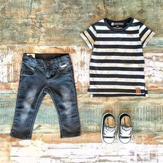 Toddler Boys Clothes ~  Beau Hudson stripe tee, Sudo washed black 'pretender' jeans & classic Converse kids sneakers [shop link below]  www.tinystyle.com.au