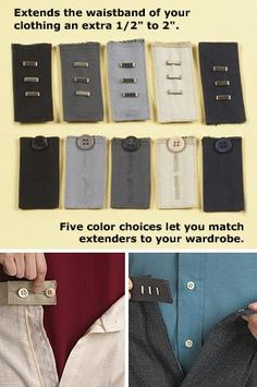 """If weight gain, bloating or shrinking clothes has your skirt or pants feeling a little snug around the waist, this set of ten adjustable extenders will have you breathing easier. They attach easily to your existing waistband and give you an extra ½"""" to 2"""" of room. Each set includes five button- and five hook-style extenders in black, navy, charcoal, gray and tan."""
