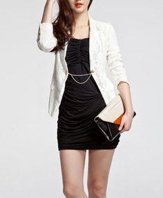 White Blazer Black Dress - wear with thin white belt