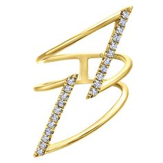 Bold style ... 14k Yellow Gold Diamond Fashion Ladies' Ring by Gabriel & Co. | Jewelry Trends | Gabriel & Co. Rings Jewelry