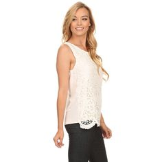 Women's /Spandex Sleeveless Crochet Lace Top