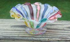 Vintage Murano Lattichino Ribbons Art Glass Small Bowl