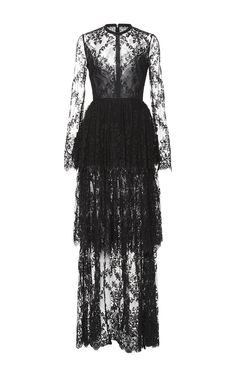 Lace And Double Georgette Tiered Long Dress by ELIE SAAB for Preorder on Moda Operandi