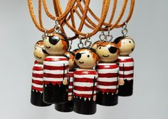 Wooden Peg Doll Pirate Necklace Statement Jewelry Unique