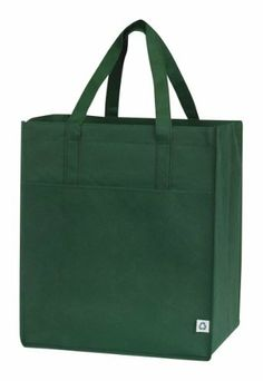 """Non-woven ECO All Purpose Pocket Shopper Tote Bag, Forest Green by Budget Bags Inc. $8.99. Non Woven Polypropylene, 90+ GSM, 100% Recyclable Eco Friendly, Hand Washable, Affordable. Drop in covered board. Size: 13""""W x 15""""H x 10""""G. Large Capacity, Large front pocket. Forest Green, See our other listings for Forest Green, Black, Lime Green, Royal Blue, Navy Blue, Red. 100% Eco Nonwoven, generously sized tote bag. Bag features Large Capacity, Large front pocket and Drop in cove..."""