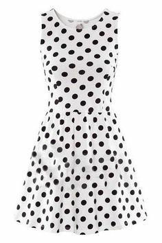 ROMWE | Black Dots Print Pleated Sleeveless White Dress, The Latest Street Fashion