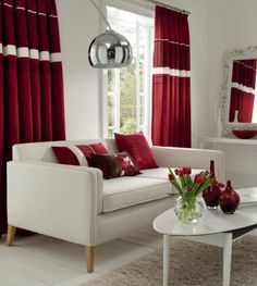 Red Curtains living room wake