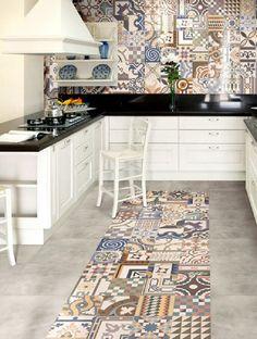"Via: <a href=""http://homegirllondon.com/rooms-patterned-porcelain-tiles/#foobox-2/0/Patchwork-Pattern-Kitchen-porcelain-tiles.jpg"" target=""_blank"">HOME GIRL LONDON</a>"