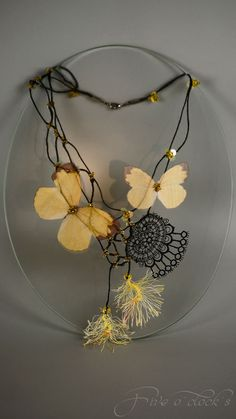 Yellow butterflys necklace. Bocho necklace. Beaded by FiveOClocks