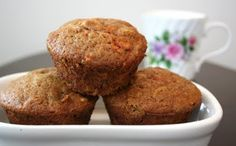 carrot spice muffins-oh my. These are seriously awesome! Everyone loved them. Nice for treat or snacks for the kids...can top with cream cheese frosting to dress them up. We were fine without it.