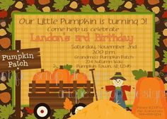 Pumpkin Patch Birthday Party Invitation by UniqueScrapDesigns, $12.00