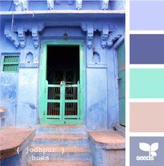 Jodhpor Hues via Design Seeds Colour Pallette, Colour Schemes, Color Combos, Winter Typ, Blue City, Bleu Turquoise, Design Seeds, Colour Board, Color Theory