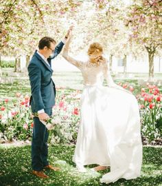 modest wedding dress with long sleeve and a flowing skirt from alta moda. --(modest bridal gown)--