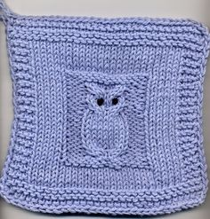 Free owl block pattern! This is a great point for creating afghans, tablet covers, dishcloths and more! More free owl knitting patterns at http://intheloopknitting.com/6-free-owl-knitting-patterns/                                                                                                                                                     More