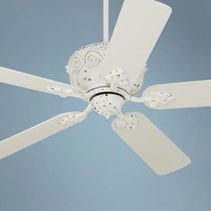 Casa Deville™ Antique Rubbed White Ceiling Fan  can be mounted without the rod for a lower profile
