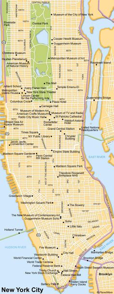 Map of New York City Attractions | PlanetWare