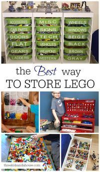 The best way to store Lego.  Storage for Lego toys with Ikea drawers, hanging pockets, under bed carts on wheels, sort by colour...