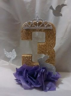 SOFIA the first theme, centerpiece, glitter number, birthday party, table decor Princess Sofia Birthday, Sofia The First Birthday Party, Pink And Gold Birthday Party, First Birthday Party Decorations, 3rd Birthday Parties, Princess Party, Birthday Display, 2nd Birthday, Birthday Ideas