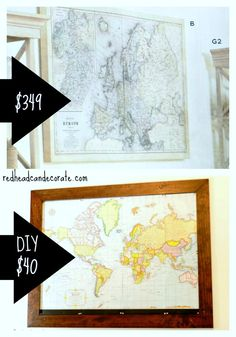 DIY Custom Framed World Map for over our daughter's headboard.  Notice her name carved in the frame...