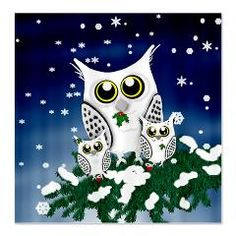 Christmas Snowy Owl family Shower Curtain  Adorable Christmas snowy owl family is decorating for the holidays. 2 baby Owls sitting in a snowy pine tree with stockings at feet and momma watching over, Holly leaves and berries adorn them.  This adorable design is on many items!  $47.99