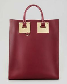 Sophie Hulme Signature Leather Tote Bag, Burgundy on shopstyle.com
