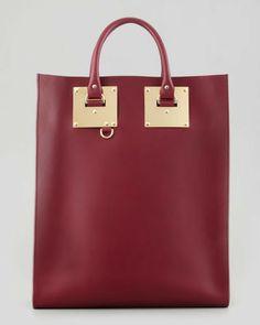 Sophie Hulme Signature Leather Tote Bag, Burgundy on shopstyle.com