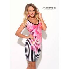 e5389a50a5 Masca Fashion pink virágos csíkmintás, V-nyakú ujjatlan szűk miniruha