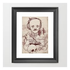 Poe Framed Art Print ($37) ❤ liked on Polyvore featuring home, home decor, wall art, framed art prints, black wall art, vintage home decor, vintage illustration, vintage wall art and vintage home accessories
