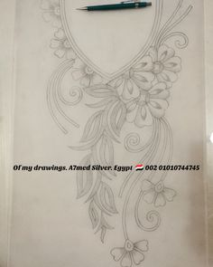 - 👑Of my drawings 🌸 🌸 Silver Egypt. Hand Embroidery Design Patterns, Hand Embroidery Dress, Embroidery Suits Design, Embroidery Flowers Pattern, Embroidery Motifs, Bead Embroidery Jewelry, Ribbon Embroidery, Sewing Patterns, Fabric Paint Designs
