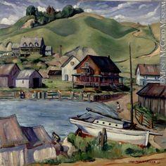 Le port, Port-au-Persil,  Jean-Paul Lemieux,  1937, Huile sur panneau,  52 x 53 cm