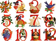 12 Days Of Christmas Pictures Printable | Christmas Decorations - 12 Days of Christmas Ornament Set