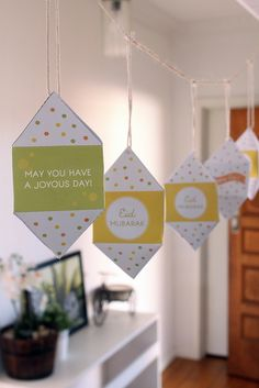 Step by step Free Printable DIY Mini Paper Lantern from the Confetti Collection. Lime green, yellow, orange color. DIY Template. Eid Mubarak. Happy Eid. Celebration. Party Package. Party printables.