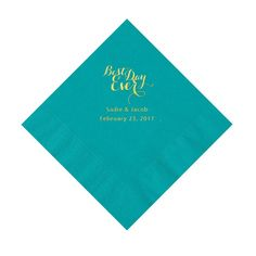 Turquoise Best Day Ever Personalized Napkins with Gold Foil - Luncheon