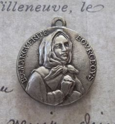 Vintage Silver Mid Century Religious Holy Medal Saint Marguerite Bourgeoys, Canada & The Venerable Pope Pius XII Vatican Rome Italy