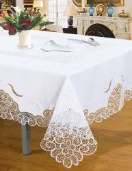 Microfiber White Satin lace embroidery tablelcoth