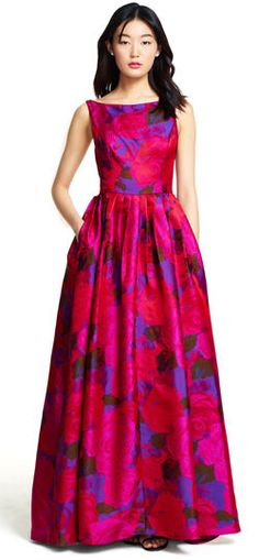 Adrianna Papell   Sleeveless Floral Ball Gown with Full Skirt
