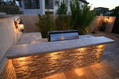 L Shaped Outdoor Kitchen, Stone Counters. Outdoor Kitchen Lisa Cox Landscape Design Solvang, CA