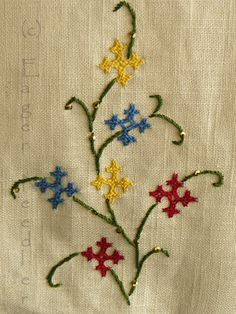 The Eager Needler: Kutch Work Embroidery Floss Crafts, Kasuti Embroidery, Embroidery Neck Designs, Hand Embroidery Videos, Hand Work Embroidery, Embroidery Flowers Pattern, Embroidery Saree, Simple Embroidery, Indian Embroidery