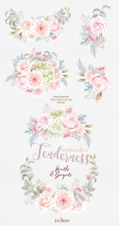 This set of high quality hand painted watercolor floral wreath and 4 bouquets Perfect graphic for wedding invitations, greeting cards, photos, posters, quotes and more. Item details: 5 PNG files. (300 dpi, RGB, transparent background) Wreath size (larger side) aprox.: 21 inch, 6300 px Bouquets size (larger side) aprox.: 20 inch, 6000 px - 14 inch, 4200 px ---------------------------------------------------------------- Instant Download: Once payment is cleared, you can download your file...