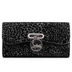 RIVIERA CLUTCH GLITTER LEO FLOQUE, BLACK, Glitter, Women Bags, Louboutin.