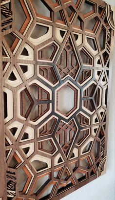 Decorative Wall Panel - Multi Layer (Laser Cut Geometric Wall Art) x Ready to Hang! Laser Cut Panels, Laser Art, Decorative Wall Panels, Woodworking Projects Diy, Woodworking Tools, Geometric Wall Art, Wooden Wall Art, Laser Cutting, Wall Design