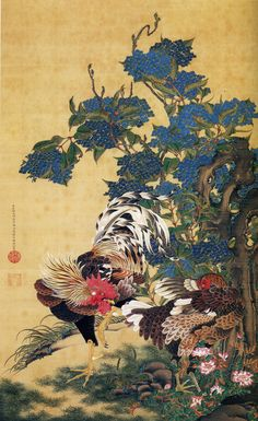 Ito Jakuchu (1716-1800) Rooster and Hen with Hydrangeas