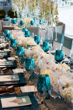 metallic blue goblets add a pop of color