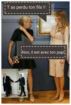 - Melania Trump : tu as perdu ton fils ? - Brigitte : non, il est avec ton papi. Funny Art, Funny Memes, Hilarious, Jokes, French Meme, French Quotes, Yes Man, Image Fun, I Laughed
