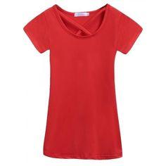 Kids Girl Criss Cross Front O-Neck Short Sleeve Solid Cute Dress