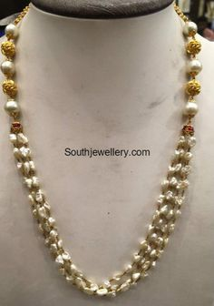 To Sell Gold Jewelry Refferal: 6257422340 Small Pearl Necklace, Pearl Necklace Designs, Pearl Earrings, Gold Jewellery Design, Gold Jewelry, Beaded Jewelry, Pearl Jewelry, Jewelery, Indian Jewelry Earrings