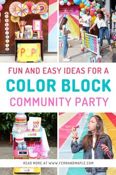 How to throw a safe, fun, and cheery Color Block Community Party with instructions for DIY projects, FREE printables, and tons of activity ideas! Get it all now at fernandmaple.com!